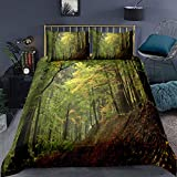 Forest Bedding Set King Size Autumn Forest Comforter Cover Trees Foggy Print Duvet Cover Set with 2...