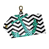 EZIOLY Leopard Anchor PU Leather Car Key Chain Card Holder with 6 Hooks & 1 Keychain/Ring