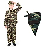 BOYS ARMY FANCY DRESS OUTFIT WITH CAMO BANDANA. CHILDS COMBAT SOLDIER COSTUME. CHILDS MILITARY...