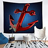 Loussiesd Girls Red Anchor Tapestry Nautical Style Wall Blanket For Kids Teens Ocean Themed Wall...