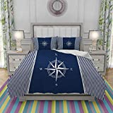 FYCORDB Duvet Cover Set-Bedding,Navy Anchors Blue Nautical Striped with Star White,Quilt Cover...