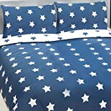 Price Right Home Navy Blue and White Stars Double Duvet Cover and Pillowcase Set