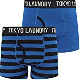 Tokyo Laundry Neville (2 Pack) Striped Boxer Shorts Set in Nautical Blue/Sky Captain Navy XL
