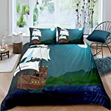 Loussiesd Nautical Bedding Set Sailboat Printed Duvet Cover For Kids Children Teens Ocean Themed...