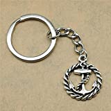 TAOZIAA Man Keychain Anchor Accessories Jewelry Gifts For Kids 26x21mm Pendant Antique Silver