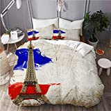 SUHOM bedding-Duvet Cover Set,Beautiful Paris Postcard. City of love and romanticism,Microfibre...