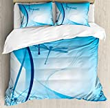 ABAKUHAUS Dragonfly Duvet Cover Set Twin Size, Underwater Sea Life with Coral Nautical with Flying...