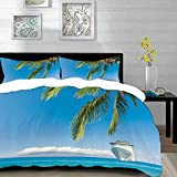 bedding - Duvet Cover Set, Nautical Large Cruise Ship Heads to The Tropical Sandy Beach Exotic...