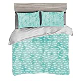 Duvet Cover Set King Size(230 x 220cm) with 2 Pillow Shams Nautical Microfiber Bedding Sets Soft...