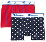 Champion Men's Boxer Coton Mix X2 Shorts, Multicolour (Logo Imprime Navy/Rouge 8mg), X-Small (Pack...