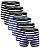 NINGMI 6 Packs Mens Striped Boxer Briefs Open Fly Pouch Underwear Breathable Stretch Boxers Shorts...