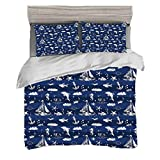 Duvet Cover Set King Size(230 x 220cm) with 2 Pillow Shams Navy Blue Stall Microfiber Bedding Sets...