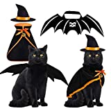 Byhoo Halloween Cat Costume Bat Wings Witch Cloak Wizard Hat 3 PCS Pet Costumes for Small Cats...