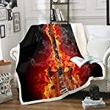 Loussiesd Guitar Fleece Blanket for Sofa Couch Rock Music Themed Sherpa Throw Blanket Musical...