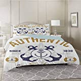 YUAZHOQI Bedding Duvet Cover 3 Piece Set, Authentic Nautical Print with Anchor Lifeboys and Rudder...