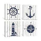 SUMGAR Nautical Wall Art for Bathroom Lighthouse Pictures Grey Framed Coastal Prints Boat Anchor...