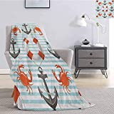 Nautical Bedding flannel blanket Life Rings Anchor And Ropes Ocean Crabs Coastal Theme Teal Striped...