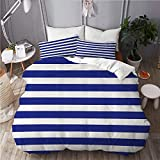 YCHY Duvet Cover Set,Striped Nautical Marine Style Navy Blue and White Sailor Theme Geometric...