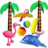 aovowog 8 Pcs Inflatable Palm Trees Flamingo Toys Inflatable Banana Beach Balls Flying Parrot...
