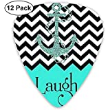 Live Love Laugh in Turquoise Colorblock Chevron with Anchor Classic Guitar Picks (12 Pack) for...