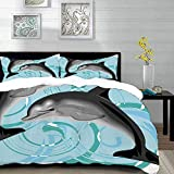 bedding - Duvet Cover Set ,Dolphin,Digital Image of Abstract Ocean Themed Nautical Life Two Dolphin...