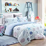 USTIDE Children Bedding Set Seaside Duvet Cover Set 3-Piece Double Size 800 Thread Count Ocean...