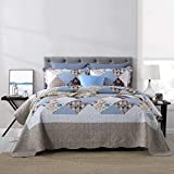 Qucover Brown Quilted Bedspread - Reversible Quilt Sets Queen Size with Pillowcases, Lightweight...