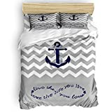 SunnyM 4-Piece Duvet Cover Set, Nautical Anchor Wave Pattern Bedding Set - 1 Quilt Cover 1 Bedspread...