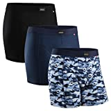 Men's Cotton Trunks 3 Pack, Stretchy Soft, Classic Fit Underwear, Boxer Shorts (Multicolour: Black,...
