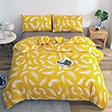 Duvet Cover Set King Brushed Microfiber - Feather Bright - Bedding Set with Zipper Closure Premium...