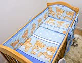 6 Piece Nursery Bumper Bedding Set to Fit Cot or Cot Bed + Jersey Sheet - (Fits Cot Bed 140x70 cm,...