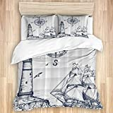 GOCHAN Duvet Cover Set,Sail Boat Nautical Lighthouse and Compass Navy Blue Print,3 Pieces Luxury...