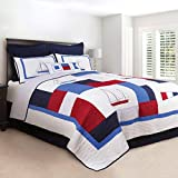 C&F Home North Shore Quilt All-Season Oversized Reversible Cotton Bedding Bedspread with Colorblock...
