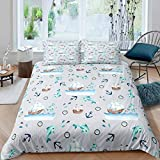 Cartoon Nautical Decor Duvet Cover Sailboat Printed Bedding Set Ocean Themed Comforter Cover for...