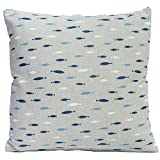 Nautical cushion cover. Small blue fish printed on a linen-effect background. 17' x 17' Square...