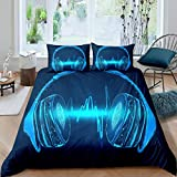 Loussiesd Boys Headset Duvet Cover for Kids Girls Teens Bedroom Decor Rock Music Themed Bedding Set...