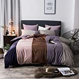 YIEBAI Stripe style Bedding Set 4 Pieces Soft Duvet Cover fitted Sheet With Elastic...