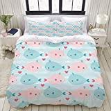 Duvet Cover Set, Vector Seamless Nautical Pattern Cute Whale, Colorful Decorative 3 Piece Bedding...