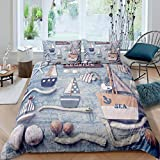 Loussiesd Sailboat Printed Bedding Set for Girls Boys Children Nautical Decor Comforter Cover Ocean...