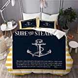SUHOM bedding-Duvet Cover Set,Nautical anchor quotes background,Microfibre 260x220 with 2 Pillowcase...