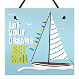 RED OCEAN Let Your Dreams Shabby Chic Bathroom Sign Sailing Nautical Plaque Beach Home Seaside GIFT...