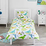 Bloomsbury Mill - Dinosaur World - Kids Bedding Set - Junior/Toddler/Cot Bed Duvet Cover &...