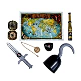 TRIXES Childs Pirate Accessories Set for Hook Dagger Eye Patch Treasure Map Telescope Compass Gold...