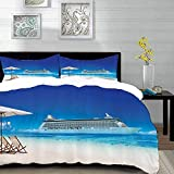 bedding - Duvet Cover Set ,Seaside Set,Summer Beach Cruise Boat Trip Tourism Transportation Tranquil...