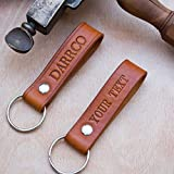 Keyring Handcrafted Personalised SADDLE TAN Real Leather Key ring Handmade by Darrco Leather