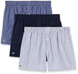 Lacoste Men's 7H3394 Boxer Shorts, Marine/Blanc-Tropical, S (Pack of 3)
