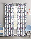 Childrens Nautical Beach Hut and Sailing Boats Striped Curtain with Tiebacks (66x72 Curtain Pair)