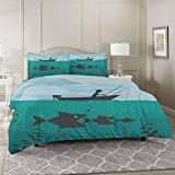 YUAZHOQI Fishing 100% Washed Microfiber Duvet Cover Set Queen, Single Man in Boat Luring with...