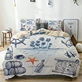QINCO Duvet Cover Set Anchor Bottle and Map Nautical Holiday Adventure with Tropical Island Beige...