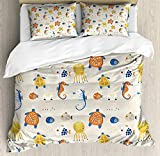 XOXUN Nautical Duvet Cover Set, Colorful Nursery Themed Concept of Seahorses Octopus and Fish...